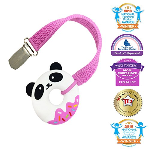 Silli Chews Mini Pink Teether Silly Panda Bear Sprinkle Donut Teething Baby Toy with Teether Pacifier Strap for Babies PVC, Phthalate, Lead, and BPA Free Chew Toy 100% Food Grade Silicone No Paint