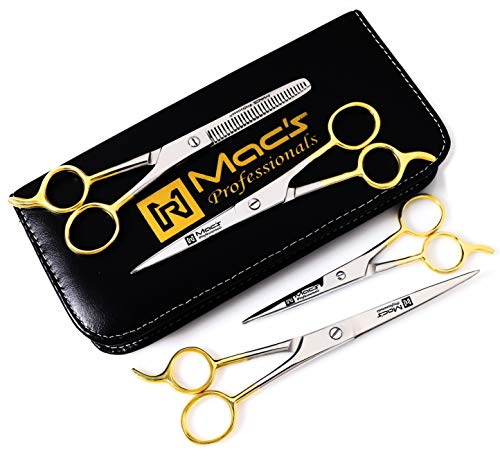 Macs Barber Scissor Hair Cutting Scissors Set Contain 4 Pcs Scissors With Half Gold Plated 5.5'' + 6.5'' +7.5'' With 6.25'' Texturizing /Thinning Shears Set Made Of High Grade Stainles Steel with Free Black Leather Case-15001 by Macs Razor Products (Image #1)
