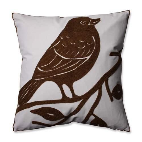 "Pillow Perfect Bluebird Throw Pillow, 16.5"", Brown"