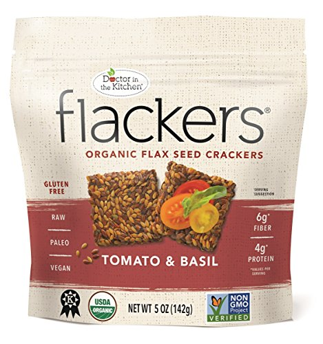Doctor In The Kitchen, Flackers Organic Flax Seed Crackers, Tomato and Basil Flaxseed, 5-Ounce