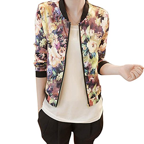 Lisingtool Women's Stand Collar Zipper Floral Printed Bomber Jacket (S, Colorful)