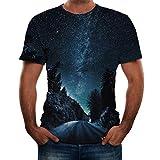 Pervobs Fashion Mens Causal Basic Short Sleeve 3D Print Crew Neck Regular Fit Tee Shirt Blouse T-Shirt Tops(L, Black B)