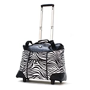 Olympia Deluxe Fashion Rolling Tote, Zebra, One Size