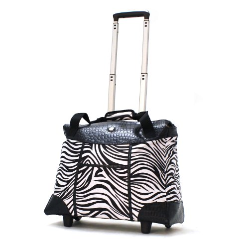 (Olympia Deluxe Fashion Rolling Tote, Zebra, One Size)