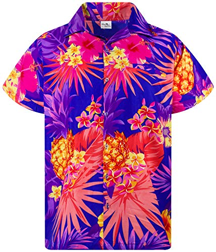 (King Kameha Funky Hawaiian Shirt, Shortsleeve, Pineapple, Darkblue, S)