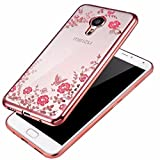 Meizu M3S ( Rose Pink Color ) Shockproof Silicone Soft Tpu Transparent Shining Flower Stylish Case With Sparkle Crystals Back Cover Case Brand Dustin