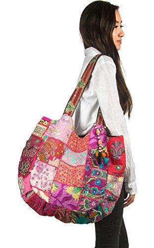 TribeAzure Large Fashion Pink Canvas Shoulder Bag Handbag Unique Tote Quilt Vintage Beach Travel Summer