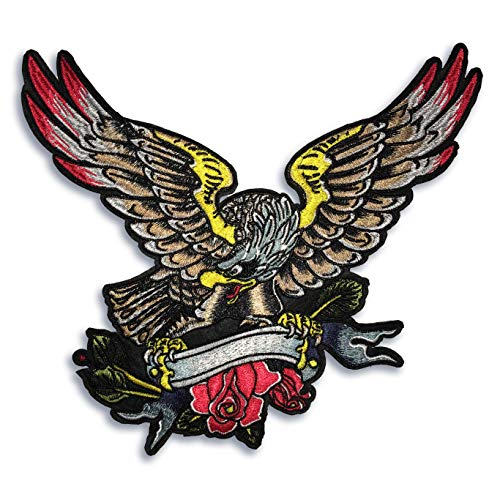 "Large 12"" Eagle with Scrolls Embroidered Sew On Patch"