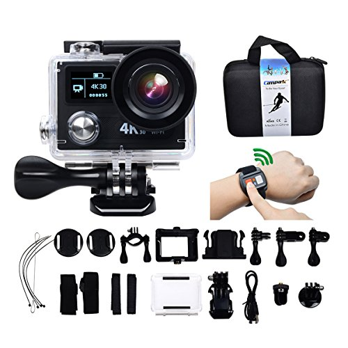 Campark 4K 30fps/1080P 120fps WIFI Sports Action Camera Ultra HD Waterproof DV Camcorder,Ambarella A12 chip,12MP Sony Sensor,170 Degree Wide Angle,2.4G Remote Control,2 Rechargeable Batteries Action Cameras CAMPARK