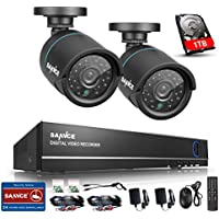 SANNCE 4CH 720P 1080N HD-TVI DVR Security System with 1 TB Surveillance Hard Drive and (2)1 .0MP Weatherproof Bullet CCTV Cameras, Motion Detection and Remote Access