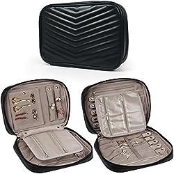 Becko Travel Jewelry Organizer Bag Case Roll Pouch (Black)