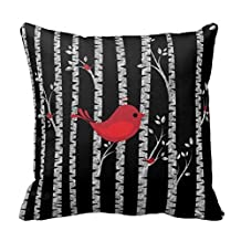 Dennis shop hse194 (*) Black and White Birch Trees with Red Bird Cushion Decorative Throw Pillow Case Pillow Cover 18 X 18 Inch