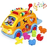 iPlay, iLearn Electronic Musical Bus, Baby Sensory Toy, 3D Animal Matching Car w/ Gear, Early Development, Learning, Educational Gift for 1, 2 Year Olds Girls Boys Toddlers Kids