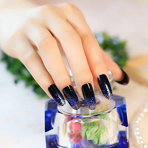 YUNAI 24 PCS/Set uñas postizas azules Nail temperamento notable El diseño del arte del clavo: Amazon.es: Belleza
