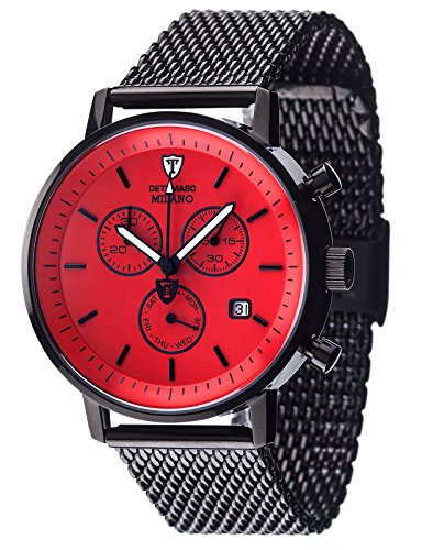 DETOMASO Men's DT1052-N MILANO Chronograph Classic rot/Schwarz Analog Display Swiss Quartz Black Watch
