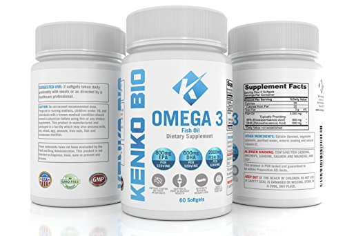 Premium omega 3 fish oil supplements 2000mg serving for Non fish omega 3