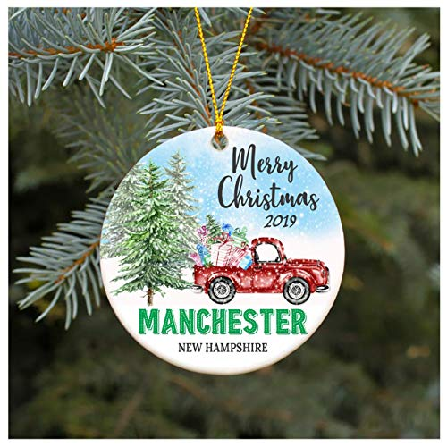 Christmas Ornament 2019 Manchester New Hampshire NH Christmas Decoration Funny Gift Christmas Together First Christmas as a Family Couples Gifts Boyfriend Girlfriend 3
