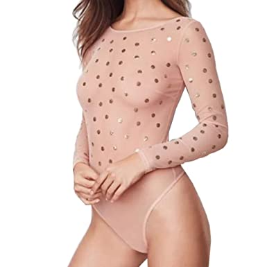 575f807fba Victorias Secrets Dream Angels Blush Ombre Sequin Bodysuit (Small) Pink