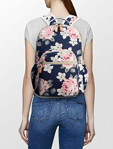 Leaper Floral Water-resistant Laptop Backpack College Bags Daypack Dark Blue by Leaper (Image #3)