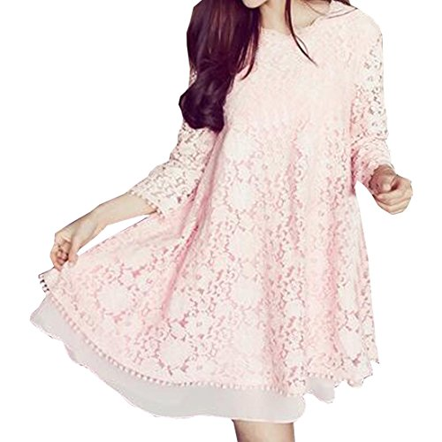 [Partiss Women Elegent Embroidered Plus Size Hollow Maternity Dress (Chinese M,Pink)] (Cheap Plus Size Fancy Dress)