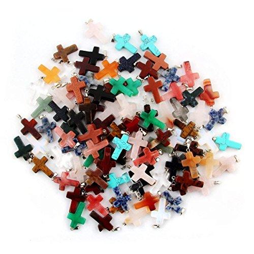 25pcs Lots Cross Shape Charms Pendant Healing Crystal Quartz Chakra Beads for DIY Jewelry Making $0.75/pcs