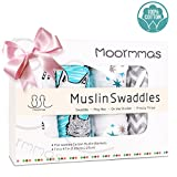 Moormmas Muslin Swaddle Blankets - 100% Cotton Soft Receiving Blankets, Large 47 X 47 inch, 4 Pack, Lovely Designs For Baby Shower- Foxes/Zebra/Stripe/Starfish-Unisex
