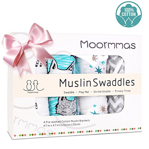 Moormmas Muslin Swaddle Blankets - 100% Cotton Soft Receiving Blankets, Large 47 X 47 inch, 4 Pack, Lovely Designs For Baby Shower- Foxes/Zebra/Stripe/Starfish-Unisex by Moormmas