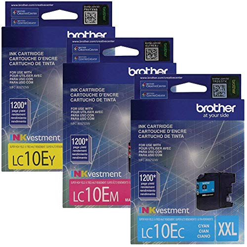 Brother LC10EC, LC10EM, LC10EY Super High Yield XXL Cyan, Magenta and Yellow Color Ink Cartridge Set