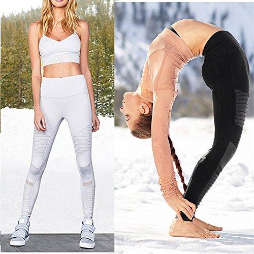 MCOUW Women Elastic Waistband Yoga Pants with Mesh Panels High Waisted Moto  Leggings in White Sport ba22f58107b5