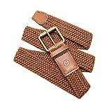 Arcade Mens Elastic Stretch Woven Belts: Smartweave Collection, Leather Trim, Adjustable Buckle, Hudson Brown/Caramel