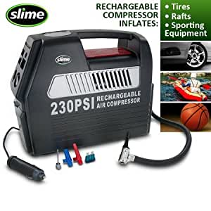 amazoncom slime  cordless rechargeable  volt tire inflator  built  pressure