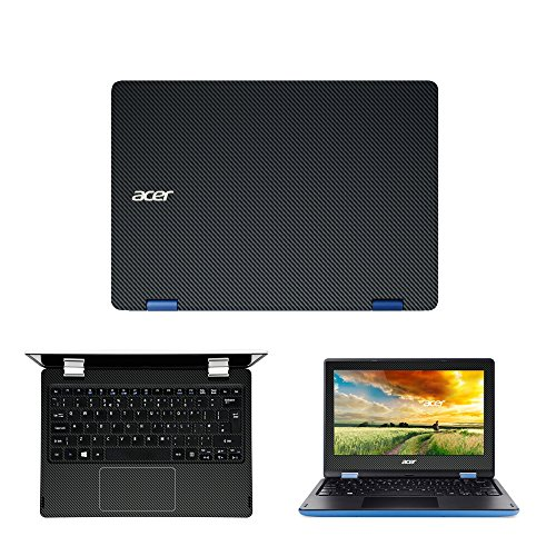 Black Carbon Fiber skin decal wrap skin Case for Acer Aspire R3-131T R 11 11.6