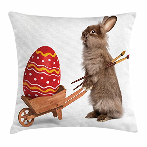 Easter Throw Pillow Cushion Cover by Ambesonne, Easter Rabbit with Brushes and a Painted Egg in a Cart Humorous Animal Photograph, Decorative Square Accent Pillow Case, 24 X 24 Inches, Multicolor
