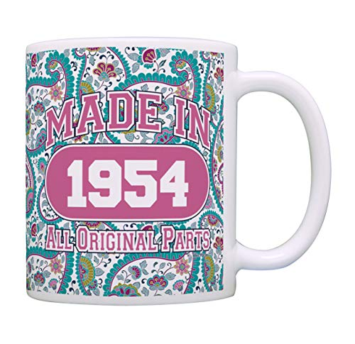 65th Birthday Gifts for Women Made 1954 65th Birthday Party Supplies 65th Birthday Gag Gift Coffee Mug Tea Cup Paisley