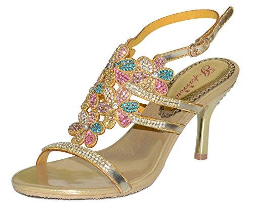 Rhinestone Shoes Heel Mid Leatherette Stiletto Sandals Flower Gold Women With Honeystore qRwZ88