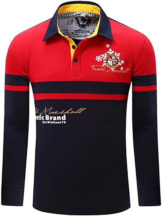 Hombres Primavera Camiseta Manga Larga Golf Logotipo Bordado ...