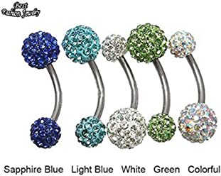 Bosun(TM) New Fashion Simulated Crystal Belly Button Ring Ball Stainless Steel Mix Colors