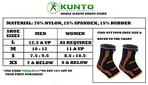 Kunto Fitness Ankle Brace Compression Support Sleeves (Pair) for Injury Recovery, Joint Pain, Swelling, Plantar Fasciitis & Achilles Tendon (Medium) by Kunto Fitness Products (Image #1)
