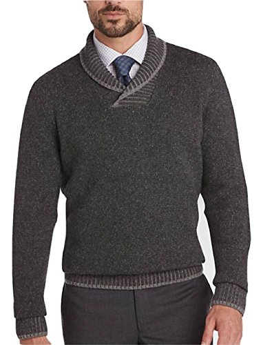 Joseph Abboud Gray Shawl Collar Wool Blend Sweater (XL, Charcoal)