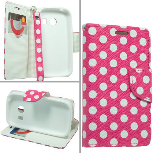 White on Pink Polka Dots PU Leather Wallet Pouch Magnetic Flip Cover Case + Atom LED Keychain Light for Samsung Galaxy Ace Style S765C (Straight Talk, Tracfone, Net - Flip Ace Samsung Cover Galaxy