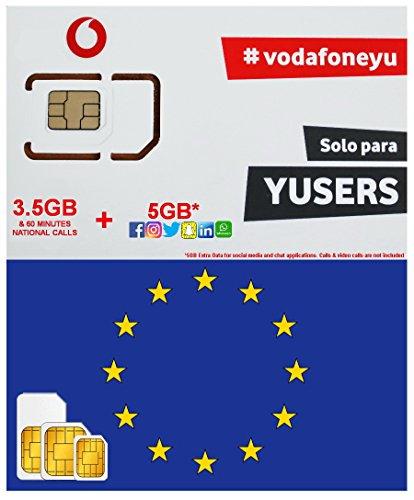 Mua EUROPE SIM CARD by VODAFONE SPAIN 3 5GB + 5GB EXTRA DATA