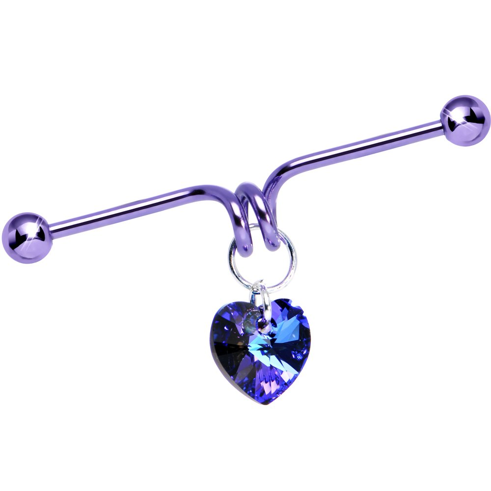 Handcrafted Purple Anodized Heart Dangle Industrial Barbell Created with Swarovski Crystals 40mm Body Candy HC-5216