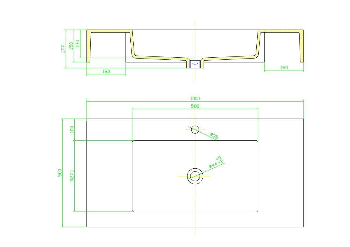 Lavabo Sospeso In Marmoresina Grigio Bugnato Top Integrato Pietra Arredo Bagno Cm 100 x 50 Yellowshop