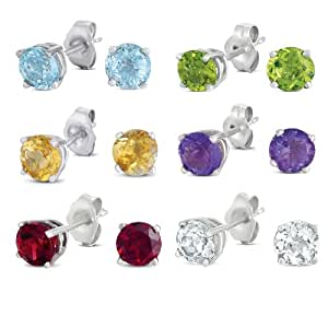 Sterling Silver 6-Pair Set 6mm Genuine Gemstone Earrings