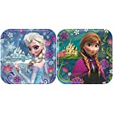 Amscan American Greetings Frozen 7-Inch Square Plate (8-Pack), Party Supplies