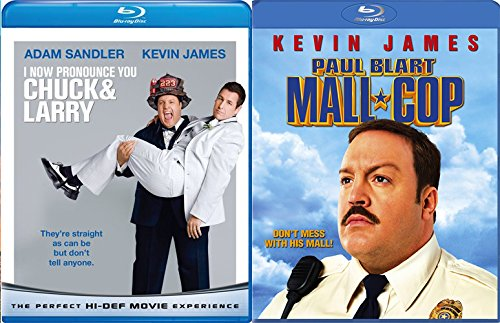 Kevin James Double Feature I Now Pronounce You Chuck & Larry Blu Ray + Paul Blart: Mall Cop Comedy Double Feature Adam Sandler Bundle Movie Set