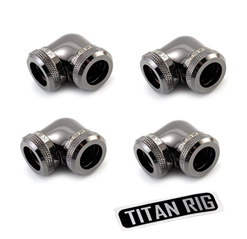 XSPC 10mm ID, 14mm OD Rigid Tubing 90° Elbow Fitting (For use with XSPC Metal & PETG Tubing Only), Black Chrome, 4-pack