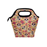 Kull And Flowers Mexican Lunch Bag Tote Handbag lunchbox Food Container Gourmet Bento Coole Tote Cooler warm Pouch For Travel Picnic School Office