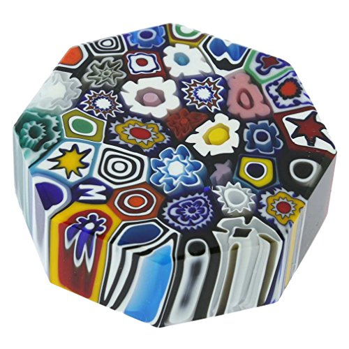 - GlassOfVenice Murano Glass Millefiori Octagon - Medium