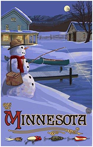 Minnesota Snowman Fishing Hills Travel Art Print Poster Paul A. Lanquist (30